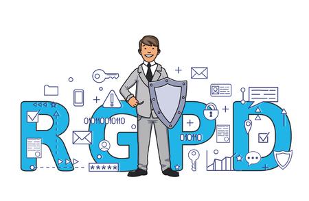RGPD 편지 앞의 디지털 및 인터넷 기호 사이 방패로 웃는 남자. 일반 데이터 보호 규정. GDPR, RGPD, DSGVO, DPO. 개념 벡터 일러스트 레이 션.