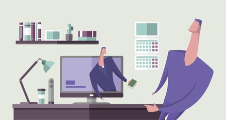 Man with the Bible preaching from computer monitor to another man in office interior. Religion online. Personal preacher. Concept vector illustration. Flat style.