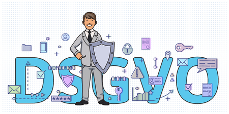 Smiling man with a shield among digital and internet symbols in front of DSGVO letters. General Data Protection Regulation. GDPR, RGPD, DSGVO, DPO. Concept vector illustration. Flat style. Horizontal