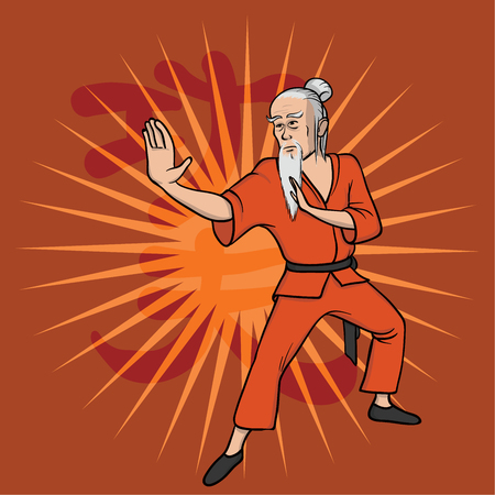 Shaolin monk practicing kung fu or wushu. Kung Fu hieroglyph. Martial art. Vector illustration, isolated on red background.