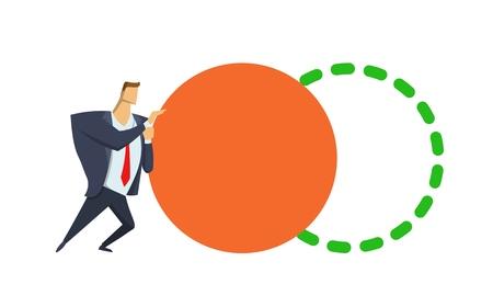 Benchmarking. Geschäftsmann, der orange großen Kreis drückt, der es zum Standard einstellt. Konzeptvektorillustration. Flacher Stil. Auf weißem Hintergrund isoliert.