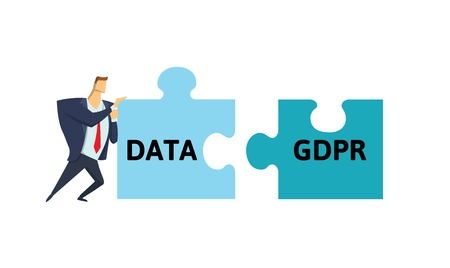 Man in suit putting data and GDPR puzzle together. Flat vector illustration. Isolated on white background. Иллюстрация