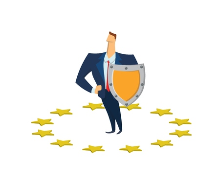 Businessman with a shield in circle of EU stars. GDPR, RGPD, DSGVO. Flat vector illustration. Isolated on white background. Illustration