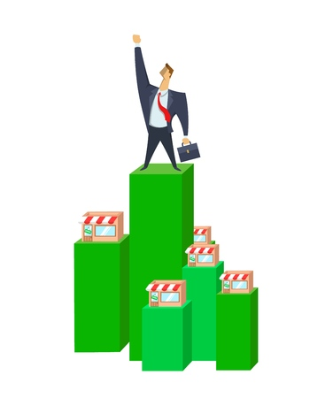 Businessman on top of successful franchise. Franchise, trading network. Concept flat vector illustration. Isolated on white background.