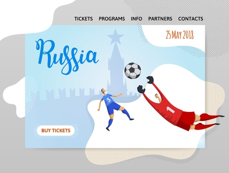 Russia and football. Players on Moscow background. Copyspace. Design template of website, poster, print media. Vector illustration.