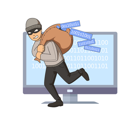 Masked burglar jumping out of computer with bag full of code on his shoulder. Digital thief. Flat vector illustration. Isolated on white background.