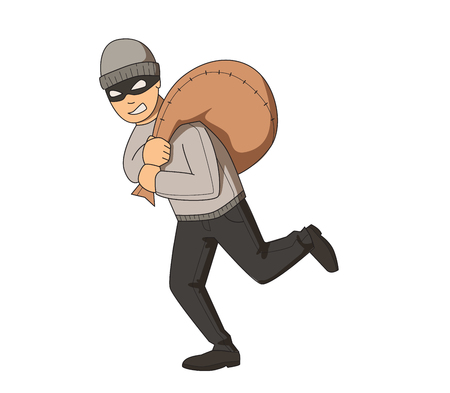 Masked bandit running with bag on his shoulder. Flat vector illustration. Isolated on white background. Illustration