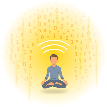 Digital detox and meditation. Meditating man protecting himself from shower of information. Flat vector illustration.