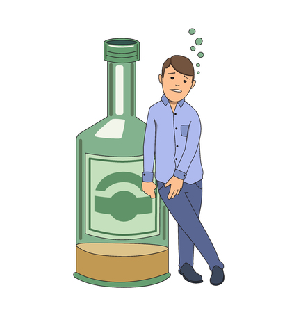 Alcohol addiction. Drunken man holding on to big bottle of booze. Vector illustration. Isolated on white background.