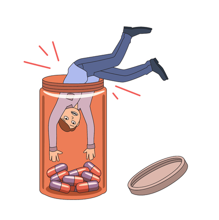 Prescription drug addiction. Guy falling into pill bottle. Vector illustration. Isolated on white background. Stock Photo