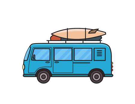 Blue minivan car with surfboard and luggage on roof rack. Surfers vehicle, side view. Isolated image on white background. Vector illustration. Flat style.