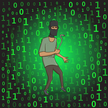 Masked thief with a puller on digital stream background. Hacker with the puller. Comic vector illustration.