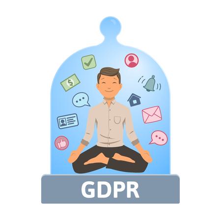 GDPR serenity. Meditating man feeling safe inside of glass dome. Flat vector illustration. Isolated on white background.