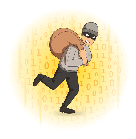 Masked thief with a bag on digital stream background. Robber running away. Comic vector illustration.
