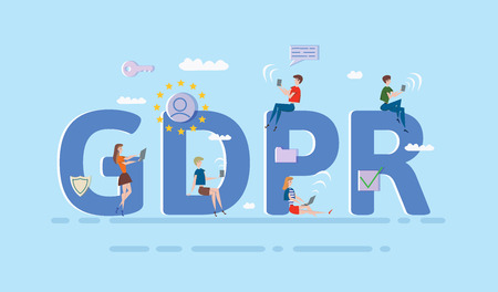 People using mobile gadgets and internet devices among big GDPR letters. General Data Protection Regulation. Concept vector illustration. Flat style. Horizontal.