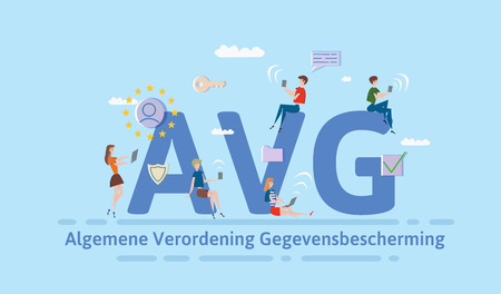 General Data Protection Regulation in Netherlands. People using mobile gadgets and internet devices among big AVG letters. GDPR, AVG, DSGVO. Concept vector illustration. Flat style. Horizontal.