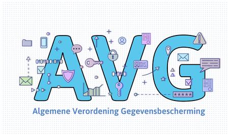 General Data Protection Regulation in Netherlands. Algemene verordening gegevensbescherming. Big AVG letters among internet and media symbols. GDPR, AVG, DSGVO. Flat vector illustration. Horizontal.