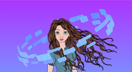 Beautiful teenage girl in the circle of text messages and speech bubbles. Social media living. Line vector illustration.