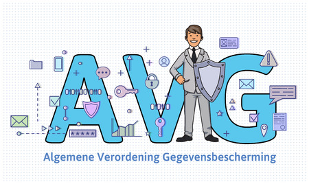 General Data Protection Regulation in Netherlands. Man with a shield in front of big AVG letters among internet and social media symbols. GDPR, DSGVO, AVG, DPO. Flat vector illustration. Horizontal.