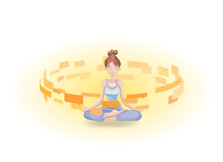 Information detox and meditation. Meditating young woman practicing in the midst of text messages and speech bubbles. Flat vector illustration. Isolated on white background. Illustration