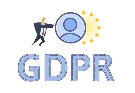 GDPR protection and compliance. Personal data security. Man pushing personal account towards European Union stars. Flat vector illustration. Isolated on white background.