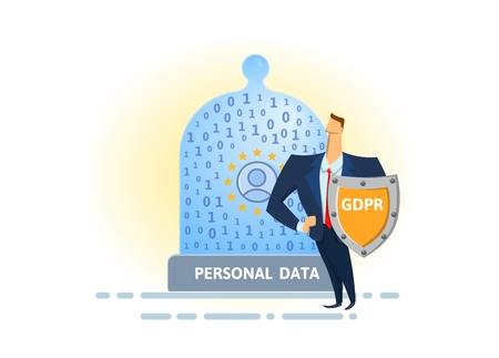 GDPR standard and online security. Shielded man protecting glass dome with digital and personal data. Flat vector illustration. Isolated on white background. 向量圖像