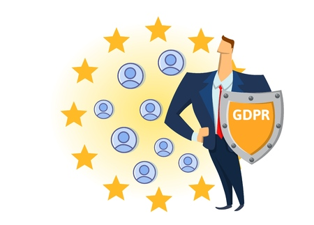 GDPR compliance. Personal data security. Shielded man protecting personal accounts in front of European Union stars. Flat vector illustration. Isolated on white background.