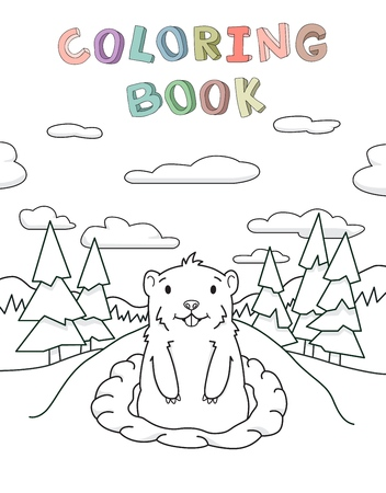 Cute groundhog looking out from the burrow on scenic pine forest and sky background. Contour vector illustration for coloring book. Cartoon style. Ilustração