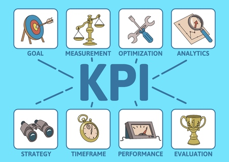 KPI concept with keywards and icons. Key Performance Indicator table. Colored line vector illustration on cyan background.