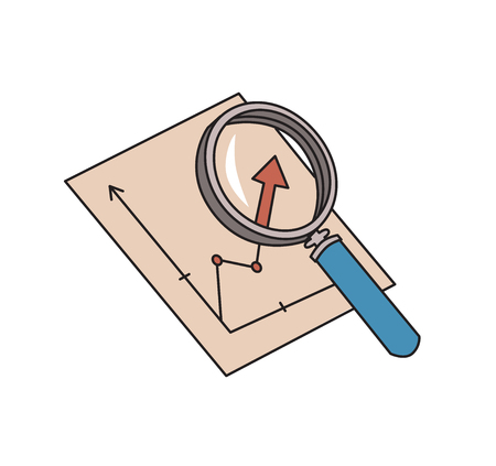 Magnifier and graph. Analytics symbol. Chart analysis icon. Colored line vector illustration. Isolated on white background. Stock Illustratie