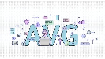 GDPR in Netherlands. Algemene verordening gegevensbescherming. Computer user among internet and media symbols with big AVG letters behind. GDPR, AVG, DSGVO, DPO. Flat vector illustration. Horizontal. 免版税图像