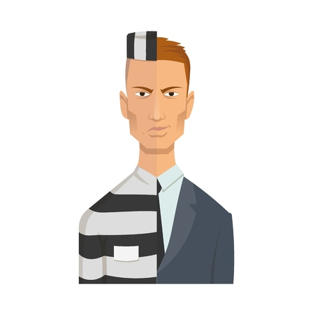 Two-faced corrupt official, businessman. Criminal face of corruption. Flat vector illustration. Flat style. Isolated on white background. Illustration
