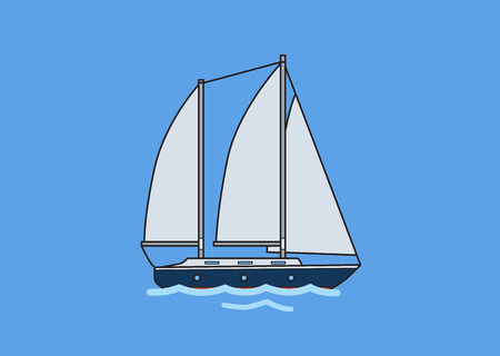 Two-mast sailing yacht, sailboat. Flat vector illustration. Isolated on blue background.