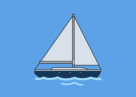 Sailboat, skipjack. Flat vector illustration. Isolated on blue background
