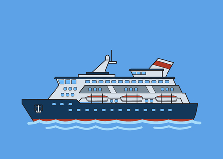 Cruise ship, liner. Flat vector illustration. Isolated on blue background