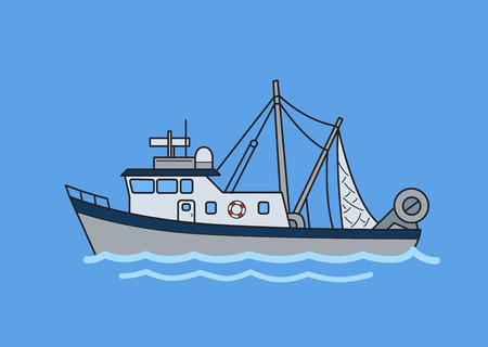 Commercial fishing trawler boat. Flat vector illustration. Isolated on blue background.