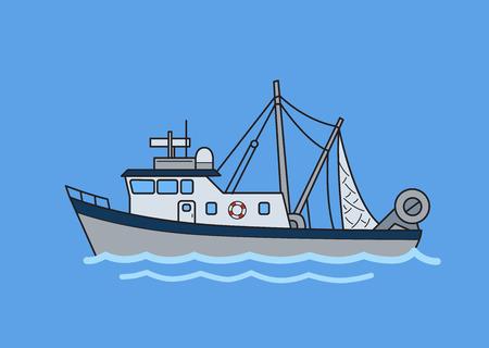 Barco arrastrero de pesca comercial. Ilustración de vector plano. Aislado sobre fondo azul.