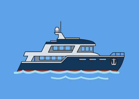 Two-deck ship, double-decker liner. Flat vector illustration. Isolated on blue background.