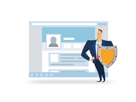 Man with the shield in front of open browser window. GDPR officer protecting data. GDPR, AVG, DSGVO, DPO. Flat vector illustration. Isolated on white background.