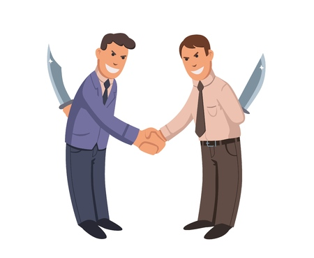 Two men shaking hands with knives behind their backs. Businessmen-hypocrites. Flat vector illustration. Isolated on white background.