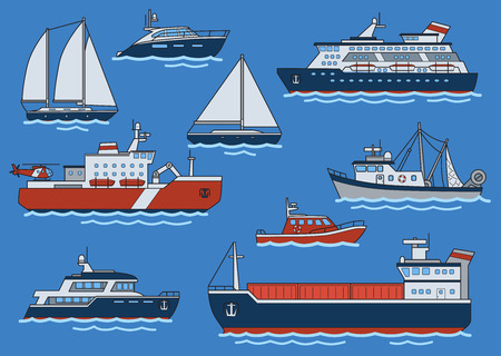 Set of different type ships and boats. Freighter, icebreaker, yacht, cruiser, trawler, speedboat. Flat vector illustration. Isolated on blue background