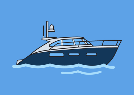 Speedboat, motor yacht. Flat vector illustration. Isolated on blue background