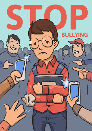 Stop school bullying poster. Phones and fingers pointing at schoolboy surrounded by laughing bullies. Colored flat vector illustration. Vertical.