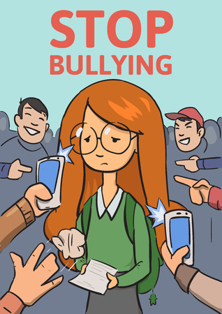 Stop school bullying poster. Phones and fingers pointing at schoolgirl surrounded by laughing bullies. Colored flat vector illustration. Vertical.