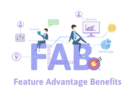 FAB, Features Advantages Benefits. Concept with keywords, letters and icons. Colored flat vector illustration on white background. 版權商用圖片 - 103666294