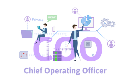 COO, Chief operating officer. Concept with keywords, letters and icons. Colored flat vector illustration on white background.