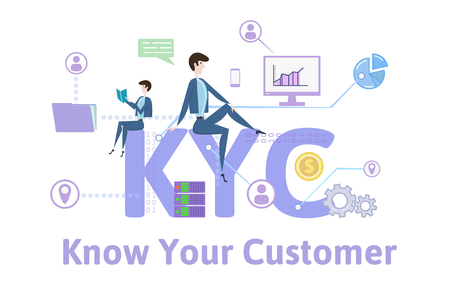 KYC, Know Your Customer. Concept with keywords, letters and icons. Colored flat vector illustration on white background.