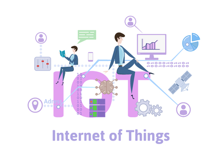 IOT, Internet of things. Concept with keywords, letters and icons. Colored flat vector illustration on white background. 向量圖像