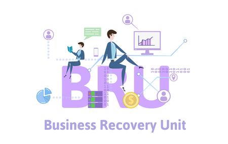 BRU, Business recovery unit. Concept with keywords, letters and icons. Colored flat vector illustration on white background.