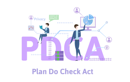 PDCA, Plan, Do, Check, Act. Concept with keywords, letters and icons. Colored flat vector illustration on white background